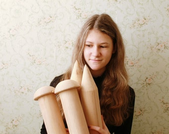 """Large Thick wooden knitting needles - 70 mm in diameter (2,75"""") 500 mm long (19.68"""")"""