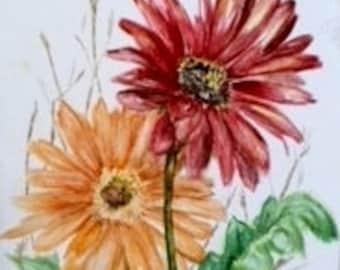 Gerbera Daisy,  original watercolor, matted