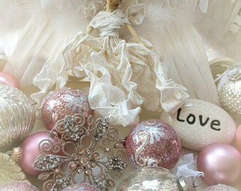 Love Angel Print, Angel Photography, Dreamy Angel Art, Mother's Day Gifts, Pink White Angel Love Print, Shabby Chic Decor, Holiday Angel Art