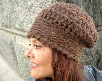 Hat, Chunky, Slouch, Edging, Fashion, Brown, Warm, Winter, Fall