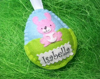 Personalised Felt Easter Egg, Fun Gifts for Girls, Pink Bunny Easter Gifts, Kids Decor, Easter Bunny Ornaments