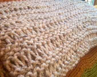 Chunky Knitting Pattern THE ROCHESTER Blanket cottage throw afghan