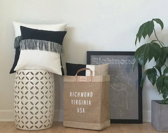 """Modern Fringe Pillow Cover with Hand Knotted Tassels (16"""" x 16"""") by JillianReneDecor - Mod Home Decor - Boho - Black and Cream"""