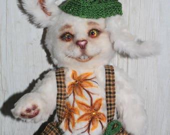 White spring rabbit, Flowers hare, soft sculpture, felted animals, felting, wool felted animal, custom pet, ooak, plush toy, handmade toy