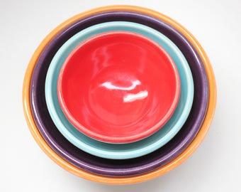 Pottery Nesting Bowls, Nesting Bowl Set, Colorful Bowls