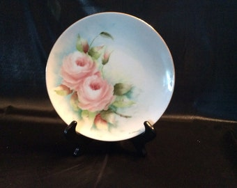 LHS Germany Hutschenreuther Selb pink rose M Stricker plate