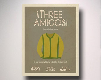 Three Amigos Inspired Minimalist Movie Poster / Choose your size