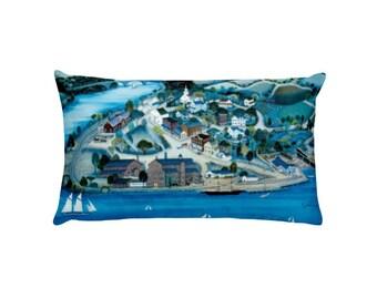 "Rectangular Pillow, ""Hudson Valley"" painting by Kathy Jakobsen"