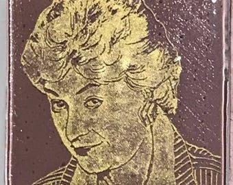 Bea Arthur Fused Glass Coaster, Golden Girls Coasters, Famous People Coasters