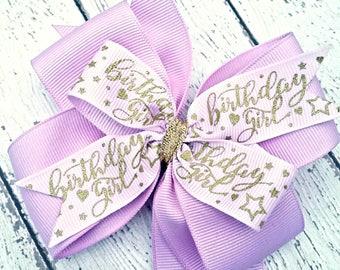 Birthday Hair Bows, Purple Birthday Bow, First Birthday Girl, Gold Glitter and Purple Hair Clip, Bows for Girls, Alligator Clip or Headband