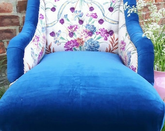 Beautiful, velvet, vintage floral & ticking re-upholstered Victorian small armchair