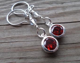 Swarovski Sterling Silver Ruby Crystal Earrings