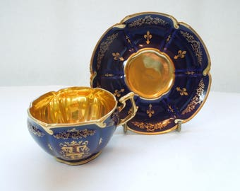 Antique French Tea Cup Saucer Cobalt Gilded Embleme De Claude of France, Louis XII Jewels Wedding Anniversary Birthday Bridal Collector