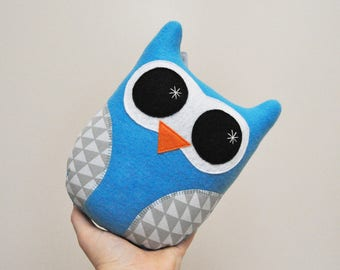 Vibrant Blue Plush Owl With Geometric Triangles - READY TO SHIP