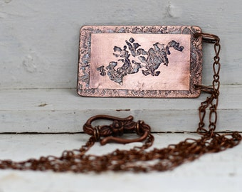 Lake Minnetonka Copper Necklace, GPS Location Coordinates Necklace, MN Jewelry, MN Lake  Necklace, Summer Beach Jewelry, Copper Necklace
