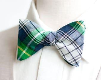 Bow Ties, Bow Tie, Bowties, Mens Bow Ties, Freestyle Bow Ties, Self-Tie Bow Ties, Groomsmen Bow Ties - Navy And Green Organic Madras Plaid