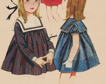 Vintage 60s Sweetest Childrens Hi-Waisted Dress W/ Large Square Collar Sewing Pattern Butterick 3021 1960s Pattern Size 3