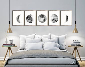 Moon Phases Watercolor Art Prints #B - Set of 5 Lunar Phases Prints - Moon Chart Posters  - Mancave Decor  Modern Gift