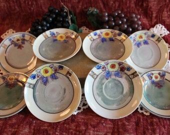"""Set of 8 Hand Painted Luster Ware 4.5"""" Saucer Plates Made in Japan"""