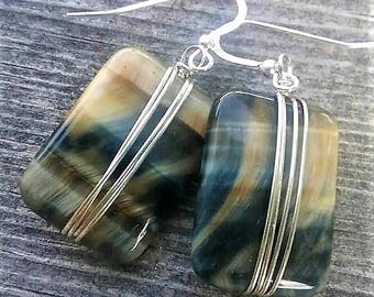 Blue GoldenEye Stone And Sterling Silver Earrings