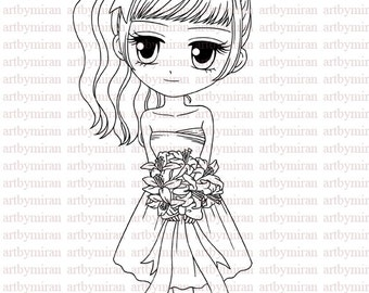 Digital Stamp-Flower Girl Vanessa(#85), Digi Stamp, Coloring page, Printable Line art for Card and Craft Supply