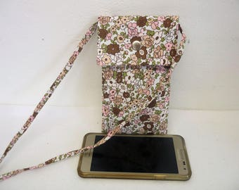 Large Brown liberty shoulder bag, woman, phone case smartphone case fabric flowers