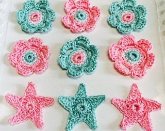 Crochet Appliqués, Cotton Crochet, Aqua, Pink, Shabby Flowers,Stars, Flowers, wedding decorations, party favors, scrap booking