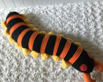 Stripey Centipede Plush, Centipede Toy, Plush Bug, Plush Insect, Centipede Stuffie