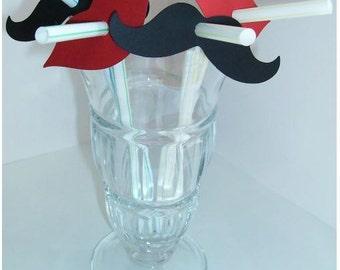 100 Mustache Moustache PARTY STRAWS - Gender Reveal - Wedding - (900S)