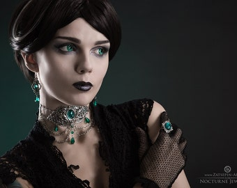 Victorian Jewelry Set with Emerald Green Stones - Chain Choker - Green Stone Ring - Gothic Earrings - Elisanth Gothic Jewelry Set