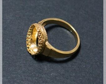 Sterling Silver Vermeil Ring Base -  24K Gold Vermeil Blank Ring Tray Fit 12х8mm  Bezel Setting - Vermeil Blank Ring