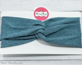 Teal Heather Jersey Stretch Knit Turban Headband