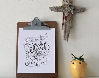 Psalm 50:15 Printable Bible Verse Art Print 8x10 Digital Wall Art Gift