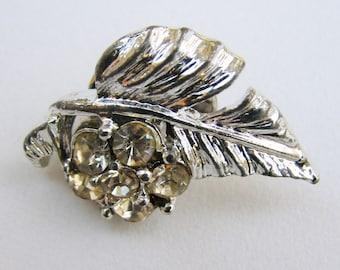 Vintage Rhinestone Leaf Tack Pin