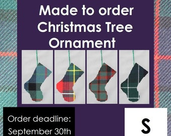 Tartan Stocking Ornament for the tree in tartans starting with S like Scott, Scrimgeour, Seton, Shaw, Shepherd, Sinclair, Smith