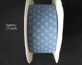 Flower ribbon trim blue, blue cornflowers by the yard, 15 yards roll vintage ribbons