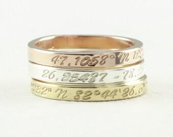 Coordinates Ring / Latitude Longitude Ring / Personalized Latitude Longitude Jewelry / Location Ring / stamped ring / personalized ring .FT4