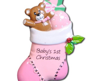 Personalized  Baby Girl's First Christmas Ornament Pink StockingGirl- Newborn, Baby Shower Gift