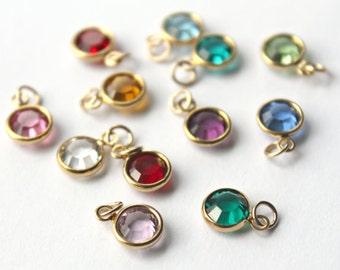 Add a Swarovski Crystal, Birthstone Charm, Gold, Bezel set Crystal, Add a Dangle, 1 Charm, Channel Birthstone, Add on Charm