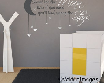 Shoot for the moon wall decal, nursery wall decal, nursery decor, nursery decals, nursey rhyme decal, wall decals for kids, moon and stars