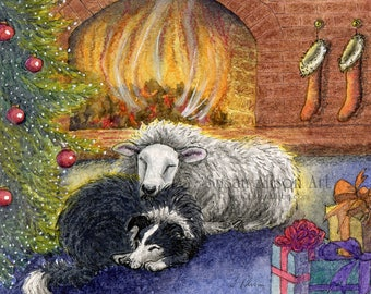 Border Collie dog 8x10 Susan Alison art print from watercolor painting sheepdog lying down with a lamb sheep ewe Christmas fire tree harmony