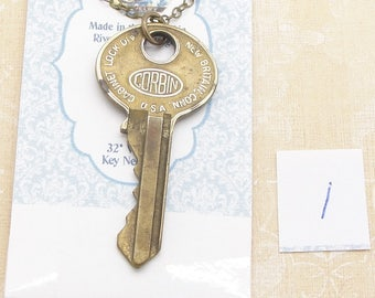 Long Vintage Key Necklace with Your Choice of a Corbin Housekey