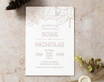 Modern Floral Wedding Invitation – Luxurious Foil Stamping, White - IWF16055-GW-RG