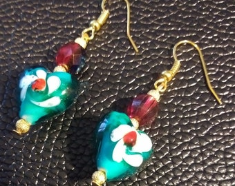 Dazzling Teal & White Swirl Glass Hearts with Red Crystal beads dangle Earrings