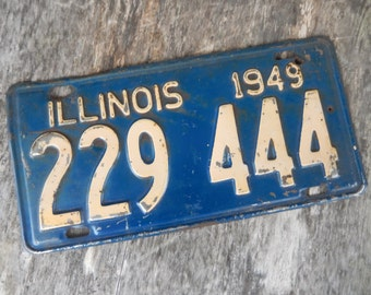 Vintage License Plate 1949 Illinois Rustic Old Metal Sign Wall Hanging, Cafe, Bar, Saloon, Coffee Shop Home Decor
