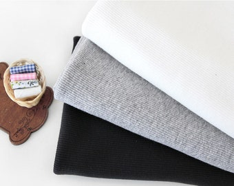 2x1 Ribbing Knit Fabric, Half Yard - Off White, Heather Gray or Black - 94899