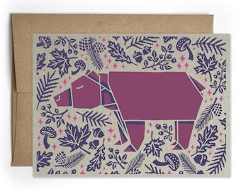 Everyday Greeting Card, Just Because, Thinking of You, Thank You Card, Bear Origami Greeting Cards