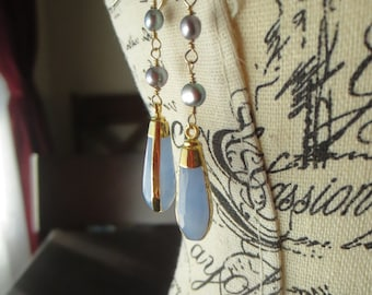 Blue As The Sky...Chalcedony Pendant and Freshwater Pearl Earrings...Ready to Ship...FREE SHIPPING