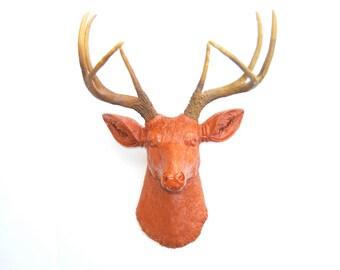 Deer Head Wall Mount in Burnt Orange - Deer Head Antlers Faux Taxidermy D2000