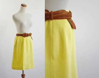 Vintage 60s Yellow Skirt, Mod Skirt, A Line Skirt, 1960s Skirt, 60s Flared Skirt, Sunshine Yellow Spring Skirt, Small Waist 26